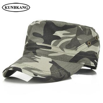 Trendy Winter Jacket New Summer Camouflage Flat Top Cap Men Baseball Hat Breathable Casual Solid Cotton Male Sun Snapback Dad Hat Camo Visor Army Cap AT_92_12