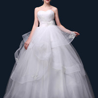 White Strapless Appliques Lace Wedding Dress