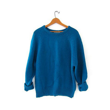 Vintage turquoise blue sweater. Wool sweater. LL Bean wool sweater.