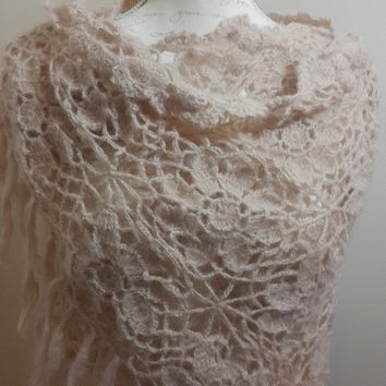 Beige wedding shawl, wedding crochet shawl, beige shawl, beige lace shawl, bridesmaid wrap, crochet shawl, bridal shawl, boho crochet shawl