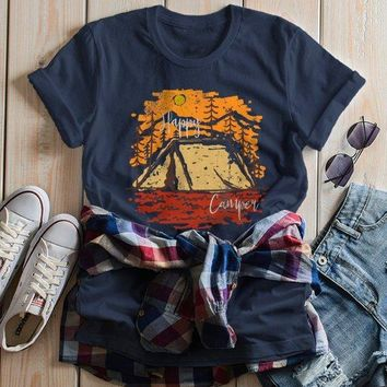 Women's Happy Camper T Shirt Fall Camping Camp Tent Illustration Forest Graphic Tee