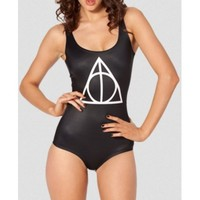 "Hogwarts ""Deathly Hallows"" Black Milk Print One Piece Swimsuit"
