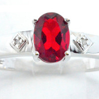 1.5 Carat Garnet Oval Diamond Ring .925 Sterling Silver Rhodium Finish White Gold Quality