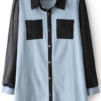 Chiffon Paneled Denim Shirt