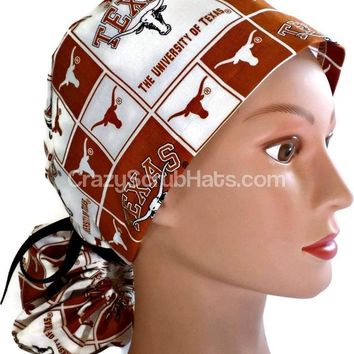 Women's Ponytail Surgical Scrub Hat Cap in Texas Longhorns Squares