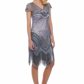 Beatrice Fringe Flapper Dress in Purple Lilac