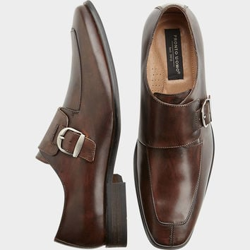 Pronto Uomo Gallo Brown Monk Strap Shoes