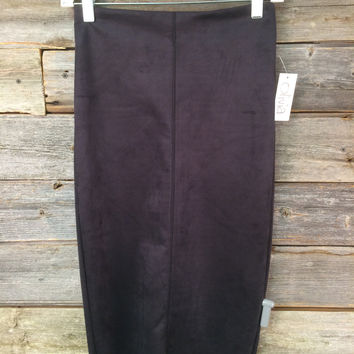 FAUX SUEDE PENCIL SKIRT W/SLIT - BLACK