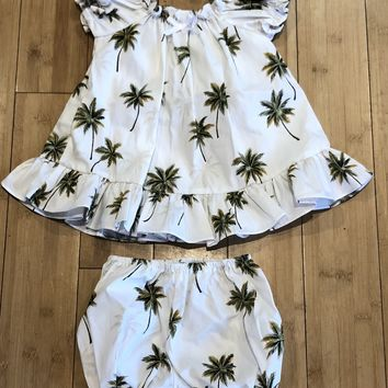 KY's Girls White Dress with Palm Trees Set