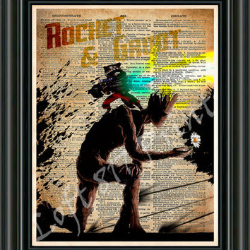 Groot art, Rocket Racoon art, Rocket and Groot - Guardians of the galaxy wall art - Super hero pop art  - Dictionary print art