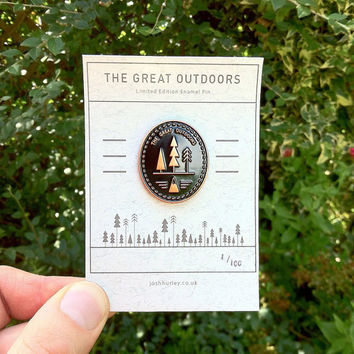 The Great Outdoors Enamel Pin - Free UK Postage - Black & antique copper | Limited Edition Badge | Lapel Pin Forest Badge | Mountian Button
