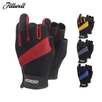 1 pair Owner Anti-slip Fishing Gloves anti-cut with Imported sheepskin fingerless fishing gloves with cut three