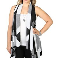 plus size black and white geometric print waterfall cozy