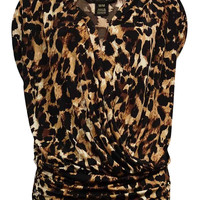 Thalia Sodi Women's Animal Print Ruched V-Neck Blouse (M, Leopard)
