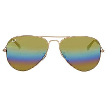 Ray Ban Gold Rainbow Flash Aviator Sunglasses