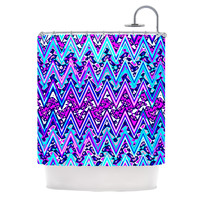 "Nika Martinez ""Blue Electric Chevron"" Shower Curtain"