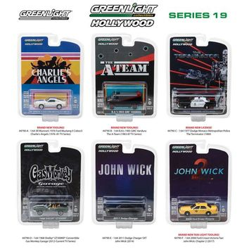 Hollywood Series / Release 19 6pc Set 1:64 Diecast Model Cars Greenlight