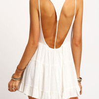 White Spaghetti Strap Backless Ruched Dress