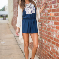 Turn The Tables Romper, Navy