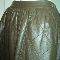 BONNIE CASHIN SKIRT Leather Quilted Full Olive Green