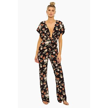 Santa Cruz Deep V Neck Jumpsuit - Blue/Orange Floral