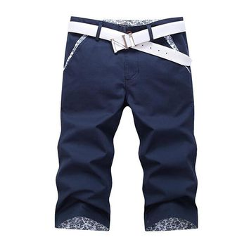 Men summer thin slim Calf-Length Pants Solid Cuffs short Homme men's clothing casual breeched Straight trousers summer capris