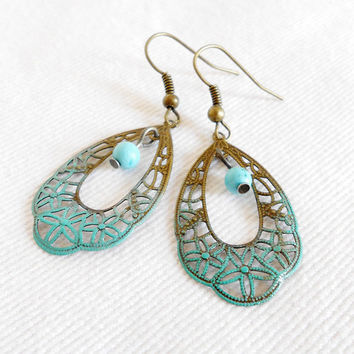 DELIGHTFUL BREEZE Antique Brass Patina Gradient Filigree Chandelier Earrings with Turquoise Beads by WilwarinDesigns