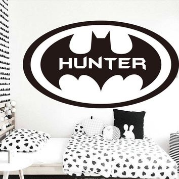 Batman Dark Knight gift Christmas Personalized Name Batman monogram Fly Circle Wall Sticker Boys Room Custom Name Bat Wall Decal Animation Decal Easy Decor Vinyl AT_71_6