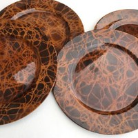 Set of 4 Bronze Tortoise style Chargers Serving Plates