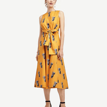 Petite Pineapple Belted Pocket Dress | Ann Taylor
