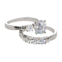 .925 Sterling Silver Wedding Band Bridal Set CZ Cubic Zirconia Womens Ring Round