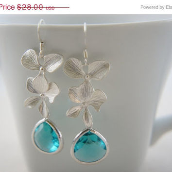 10% OFF Silver orchid earrings with blue zircon color gem, wedding, bridesmaid, gift