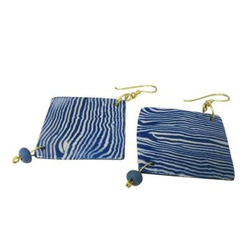 Handmade; Geometric Nerikomi Earrings; Wave Pattern - NAVY