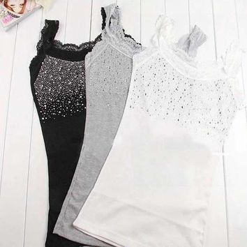 trendy lace vest girl women s rhinestone sequin lace tank top sling camisole cami vest slim 3 colors
