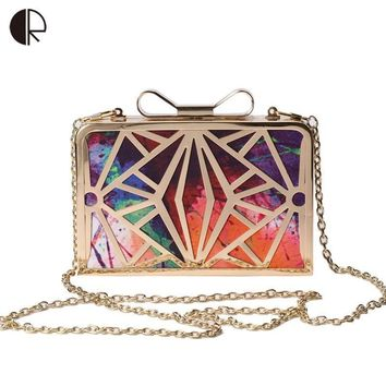 Classy Metal Finished Clutch Bag