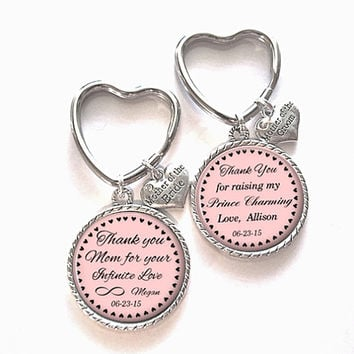 Pair of Mother of the Bride/Groom Gift, Personalized Keychain, Mother of the Bride/Groom Keychain, Wedding Kechain, Style 579/580