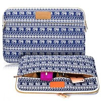 CoolBell 13.3-Inch Elephant Pattern Laptop Sleeve for Ultrabook and Macbook (Blue)