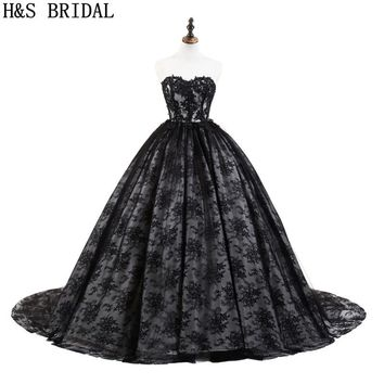 H&S BRIDAL Princess Lace Prom Dress Sweetheart Black Ball Gown prom dresses 2018 Lace Applique Prom Gown vestido longo