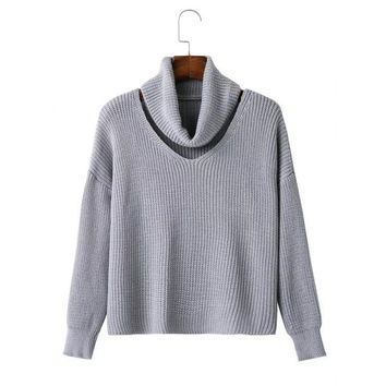 Cut Out Neck Drop Shoulder Pullover Sweater