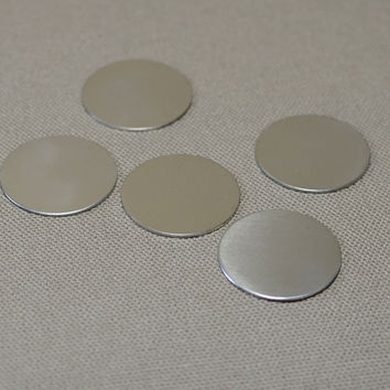 1 1/8 inch Sterling silver 20 gauge discs stamping blanks qty 5