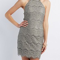 SCALLOPED EYELASH LACE HALTER DRESS