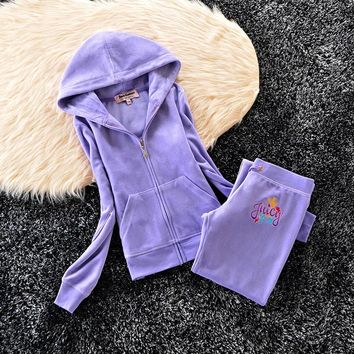 Juicy Couture Crown Logo Flowers Velour Tracksuit 6019 2pcs Women Suits Blue - Best Deal Online