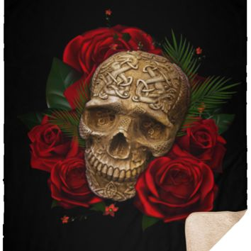 Skull and Roses Fleece Sherpa Blanket