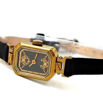 Art Deco Watch. Ornate Black Dial Womens Watch LUCH. Small Womens Watch. Vintage Mechanical Womens Wrist Watch. Octagonal Watch. Gift Her