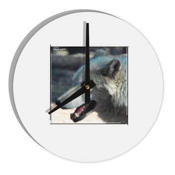"TooLoud White Wolf Face 8"" Round Wall Clock"