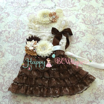 Country Flower girls dress/ Girl's Rustic Chocolate Beige Lace Dress set