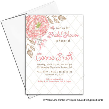 Watercolor bridal shower invitation flowers | DIY wedding shower invite | coral and taupe | printable or printed - WLP00668