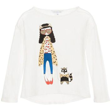 NOV9O2 Little Marc Jacobs Girls 'Miss Marc' White T-shirt