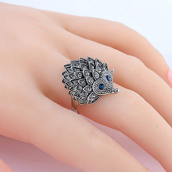 Vintage Punk Ring Unique Carved Antique Hedgehog Lucky Rings for Women Boho Beach European Wedding Party Jewelry