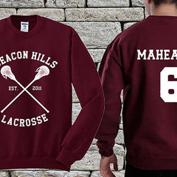 BEACON HILLS Lacrosse Team White Maroon sweater sweatshirt teen wolf. Personalized back Danny Mahealani 06